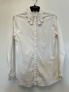 Anne Fontaine Womens Button Up Flower Collar Sleeve Size 36 White $29.00