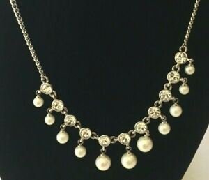 Stunning Signed Givenchy Silver Tone Faux Pearl Crystal Necklace Approx 16 18 $25.00