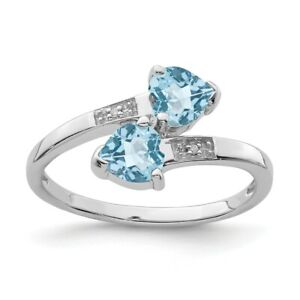 925 Sterling Silver Swiss Blue Topaz Diamond Heart Band Ring Love Stone $44.45