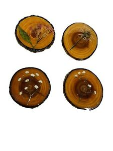 Handmade Wooden Coasters With Real Flowers Covered With Resin