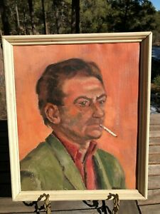 SMOKING MAN VINTAGE PAINTING FRAMED 13.11quot; X 11quot; $40.00