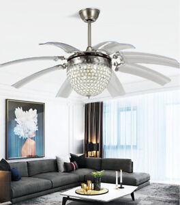 42inch 8 Blades Ceiling Fan Remote Crystal with Lights Invisible LED Fan Lamps