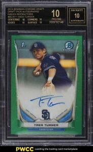 2014 Bowman Chrome Green Refractor Trea Turner RC AUTO 99 BGS 10 BLACK LABEL $5500.00