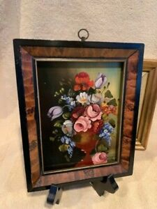 ANTIQUE Original MINIATURE Framed OIL Painting on COPPER FLOWERS FLORAL $65.00