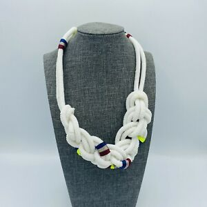 J Crew White Sailors Knot Necklace Statement Red Blue Resin Beads