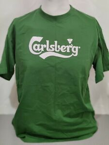 Carlsberg Beer Two Sided T shirt Green White Lettering Size XL $18.99
