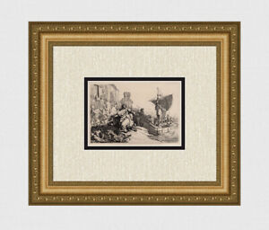 REMBRANDT 1800s Allegorical Etching B111 quot;The Ship of Fortunequot; Durand Framed COA $1199.00