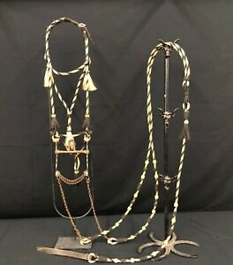 A Great Old Prison Made Horsehair Bridle with Antique Buermann Half Breed Bit