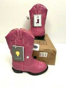 Kids Smoky Mountain Boots Girls Flashing Light Up Austin Lights PINK Sparkle 11 $39.99