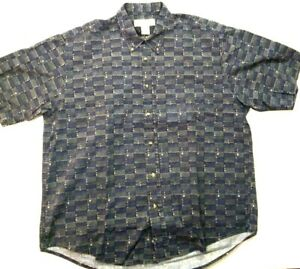 Crossings Mens Casual Shirt Short Sleeve Collared Navy Geometric Pattern Size L $21.95