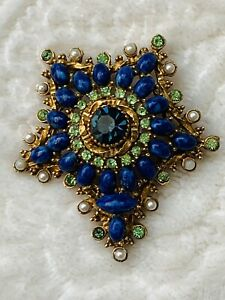 RARE Vintage Signed ART Faux Lapis Cabochons Rhinestone Seed Pearl Brooch $68.00