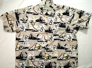 Crossings Mens Casual Shirt Short Sleeve Collared Tan Lighthouse Pattern Size L $23.95