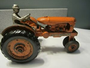 Rare Antique Original Arcade Allis Chalmers Cast Iron 7quot; Tractor w Nickel Driver $455.00