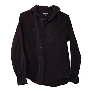 Express Mens Large 16 16.5 Maroon Dark Red Long Sleeve Button Down Casual Shirt $19.95
