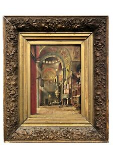 ANTIQUE OIL ON CANVAS PAINTING 1894 OF ST. MARTIN CHURCH IN ANTIQUE GOLD GILD $699.00