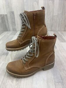Ecco Hydromax Brown Leather Lace Up Side Zip Ankle Boot Size 41 10 10.5 $29.99