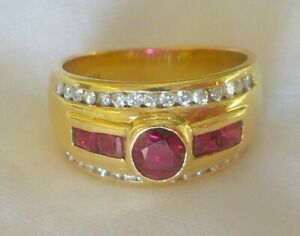 Classic 18K Yellow Gold Natural Ruby Diamond Ring 7 gms Size 5 0.90 ctw