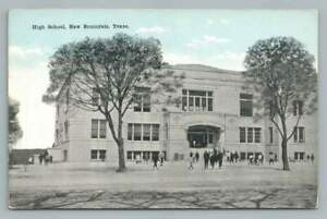 High School NEW BRAUNFELS Texas Antique Comal Guadalupe County Postcard 1910s