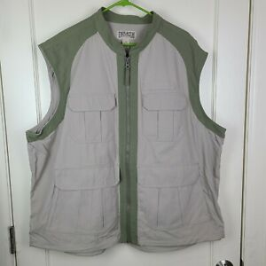 Duluth Trading Men#x27;s Work Cargo Vest Beige Mesh Lined Fishing Hunting 2XL