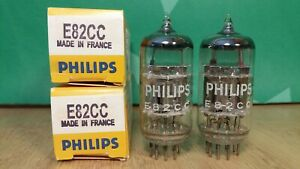 Closely Matched Pair of Mazda E82CC 12AU7WA Chrome Plate NOS NIB Vacuum Tubes