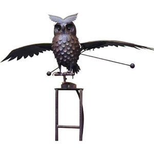 Giant Kinetic Owl Garden Stake 70quot; Tall 63quot; Wing Span Rust Color