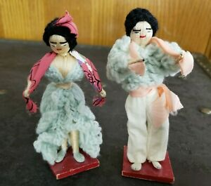 Antique Thread and Knitted Dolls Black Hair Spain 5quot; Tall $3.99