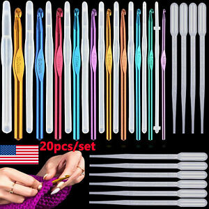 10Pcs Resin Silicone Crochet Hook Molds for DIY Knitting Needle with Pipettes $10.44