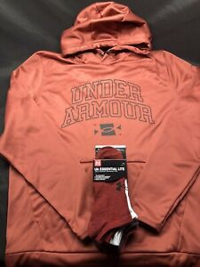Mens Under Armour Cold Gear Hoodie w UA Essential No show Socks New With Tags $69.69