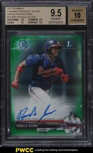 2017 Bowman Chrome Green Refractor Ronald Acuna ROOKIE AUTO 99 BGS 9.5 $19999.00