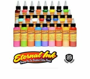 ETERNAL Tattoo Inks TOP 25 Set Colors Authentic 1 oz 30 ml Bottle USA