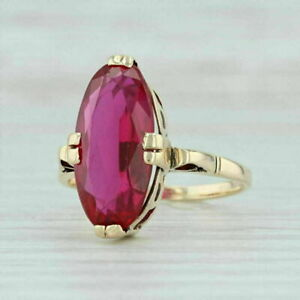 Vintage 3.20Ct Oval Cut Red Ruby 14k Yellow Gold Over Solitaire Engagement Ring