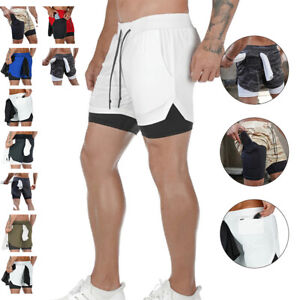 Mens Running Shorts Double Layer Quick Dry Shorts Fitness Jogging Workout Shorts $17.06