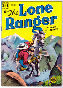 The LONE RANGER #17 in FN a 1949 DELL Golden Age comic Chief Bearspaw back cover $30.00
