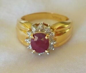 Estate 14K Yellow Gold Natural Ruby Diamond Halo Ring 3.8 gms Size 5 0.77 ctw
