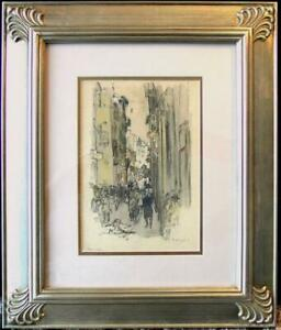 Original Mixed Media Florence Italy Street Scene by George Hand Wright NA $1245.00