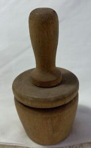 Antique Wooden Butter Mold Press Flowers Fruit Design Small Individual Pat Stamp $20.99