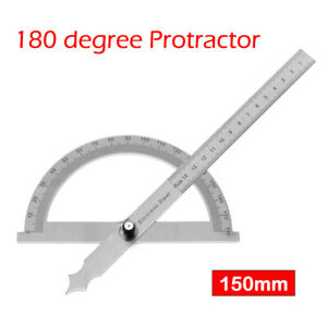 Stainless Steel 180 degree Protractor Angle Finder Arm Rotary Measuring Ruler $12.79