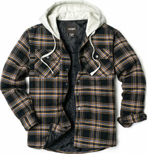 CQR Men?s Long Sleeve Hooded Quilted Lined Flannel Plaid Button Up Shirt Jackets $59.98