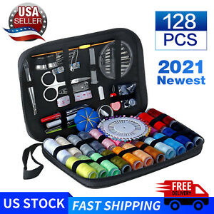 128 Pcs Sewing Kit Measure Scissor Thimble Thread Needle Storage Box Travel Set $8.99
