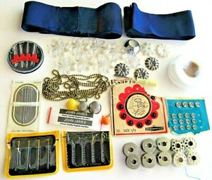 Lot Sewing Notions Singer Needles 10 Bobbins Snaps Beaded Chain amp; More $11.00