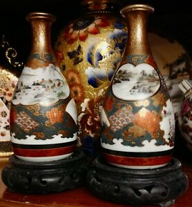 Pair of Antique Japanese Satsuma Kutani Porcelain Sake Bottles w Stoppers