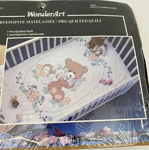 WonderArt Bear amp; Bunny Stamped Cross Stitch Baby Quilt Pre Quilted Kit C $45.99