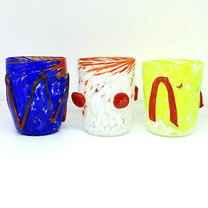 Set Glasses Glass Murano 3pz Authentic With Application To Rilievo. Mix Gift