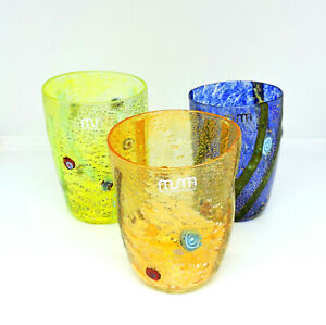 Set Glasses Glass Murano 3pz Authentic With Murrina to Spot .bicchieri Real Use