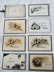 8 Antique quot; In Loving Memory quot; Remembrance Funeral Cards 1911 1959