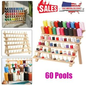 60 Spool Wood Thread Cone Holder Rack Sewing Quilting Embroidery Organizer $19.99