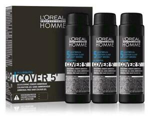 LOreal Homme Cover 5 Hair Color Gel No.5 LIGHT Brown 3 x 1.7oz Ammonia Free $26.50