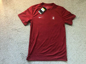 Nike Mens Stanford Tree Dri fit Shirt Long Sleeve Red CN9223 698 Size S Small $28.50