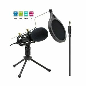 Condenser Recording Microphone 3.5mm Plug and Play PC Microphone Broadcast M... $31.99