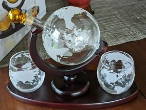 Galleon Whiskey Decanter Set Glass Ship Sculpture 2 Globe Tumblers